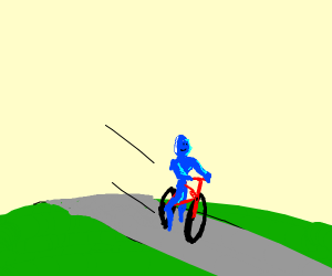 Blue Man takes a bike ride