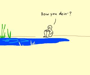 Man talks to lake