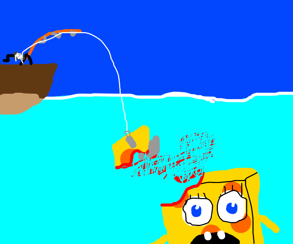 Some of Spongebob's head ripped off by hook