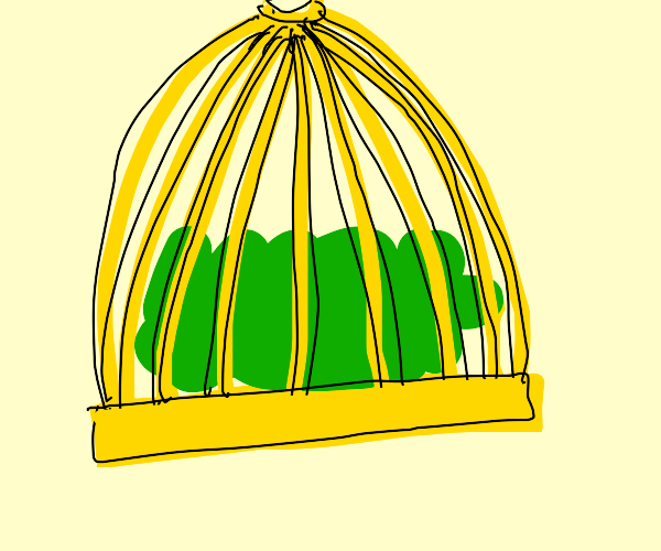 Green blob in a cage