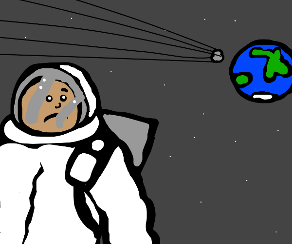space man sad about comet falling to earth