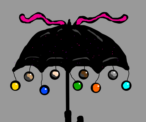Decorating an umbrella too much