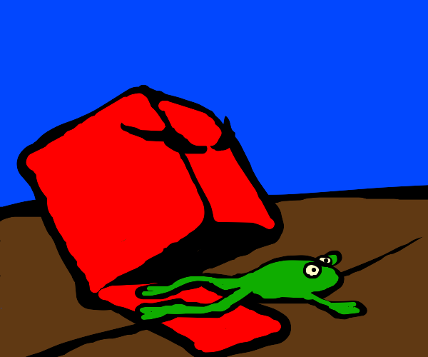 red box eats a frog