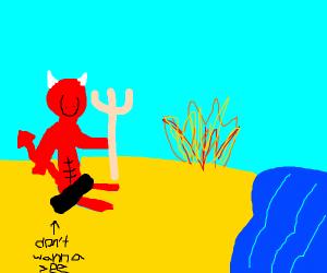 Satan at the beach