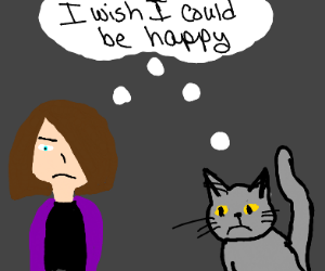 A woman and a cat are both sad.