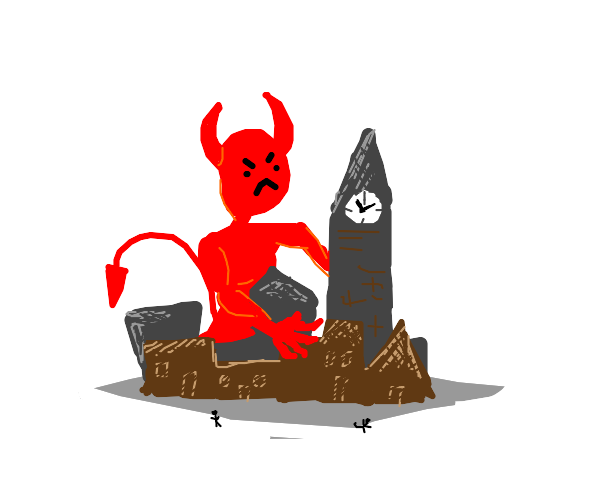 Angry demon in a vilage