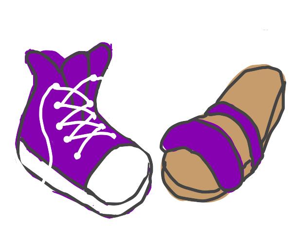 Mismatched purple shoes