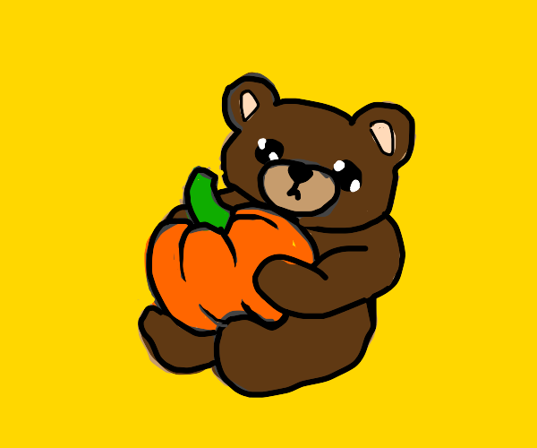 wholesome bear with a pumpkin :)