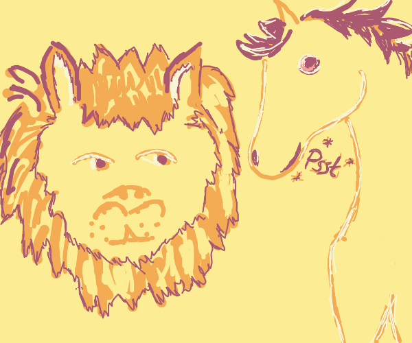 horse whispers to lion