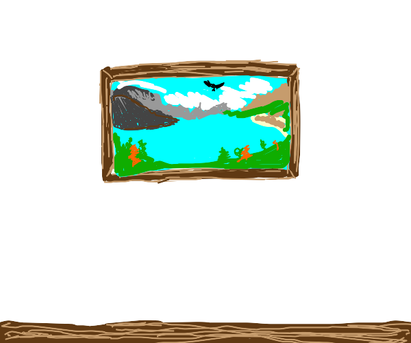 picture of lake framed