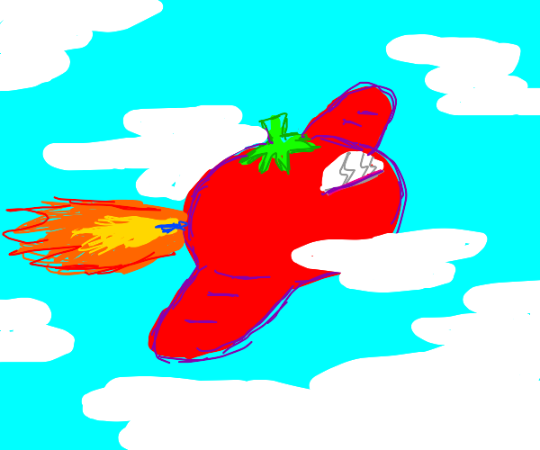 tomato red airplane midflight