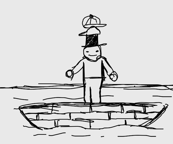 man that loves hats on a sinking boat