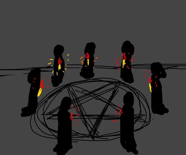 A demonic/satanic ritual takes place