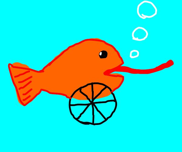 Fish with big tongue and wheels