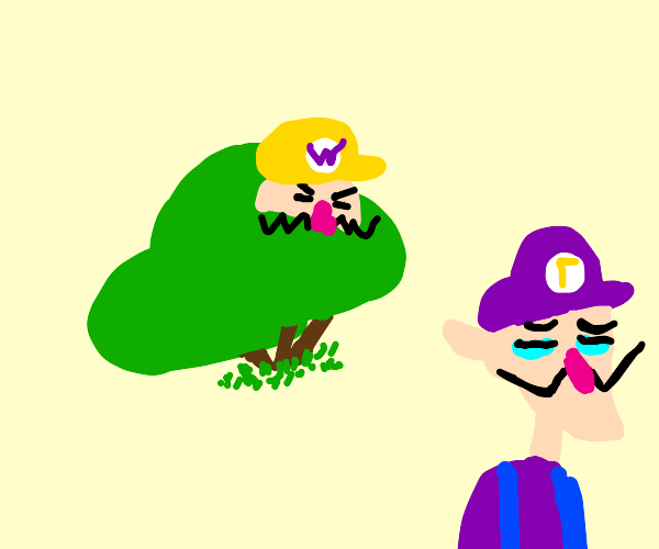 Wario in a bush watching Luigi
