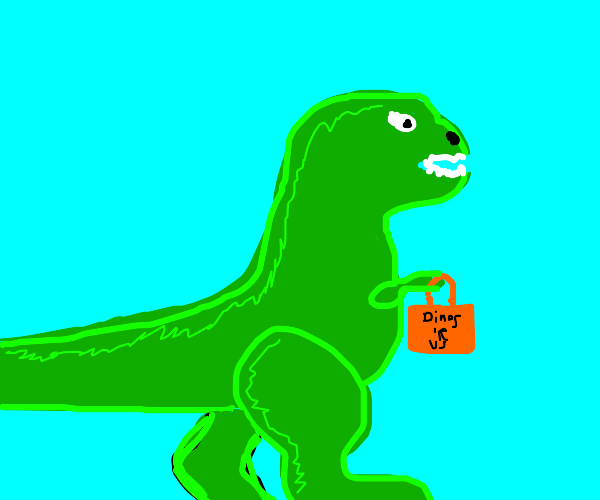 dinosaur is shopping