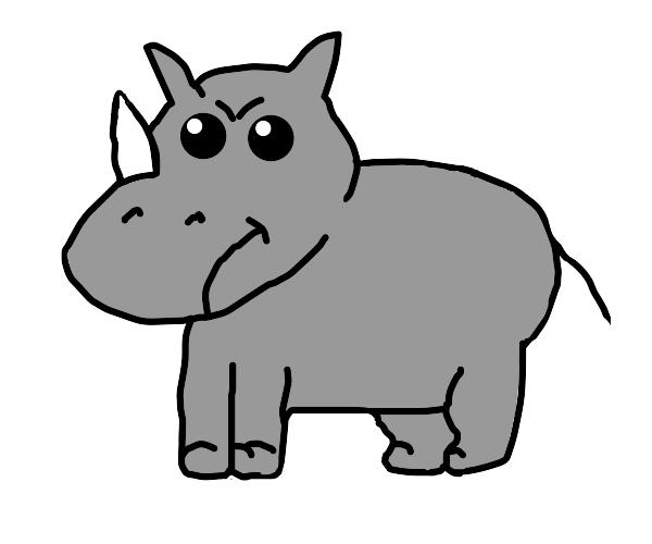 Cute angry rhino