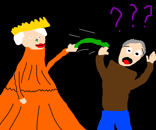 queen attacked man with booger (???)