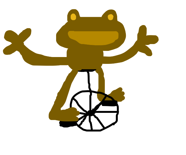 Frog having fun on a unicycle