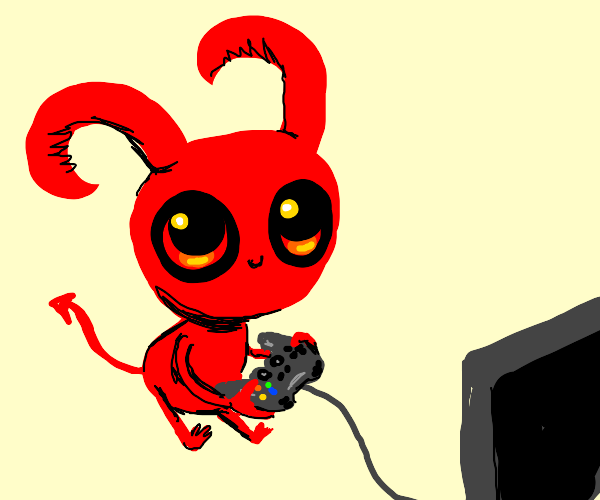 Miniature devil playing video games