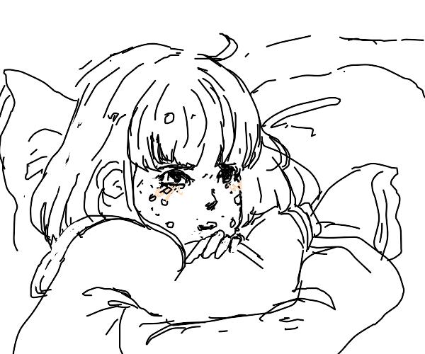 sad crying anime girl :(