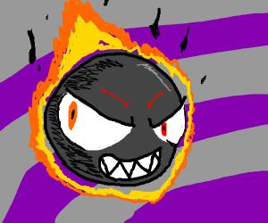 Gastly(pokemon) with fiery smoke