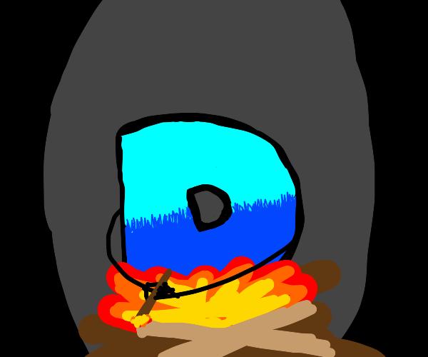 Drawception mascot making a campfire