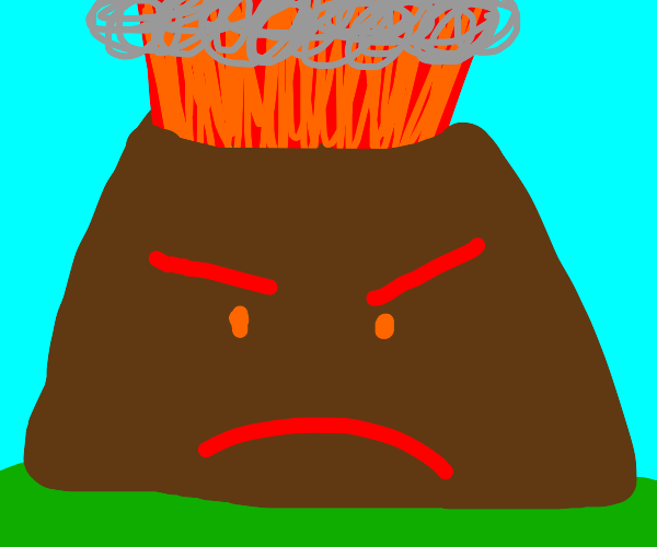 angry volcano erupting