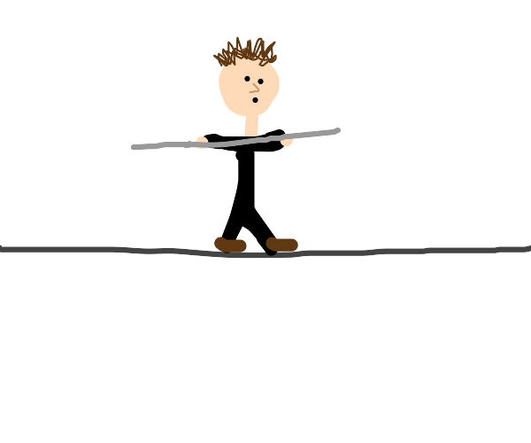 Walking on a tightrope with a stick