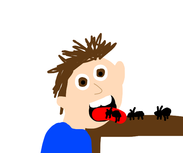 Man eating ants as they crawl into his mouth