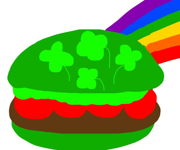 Hamburger made for St Patrick's Day
