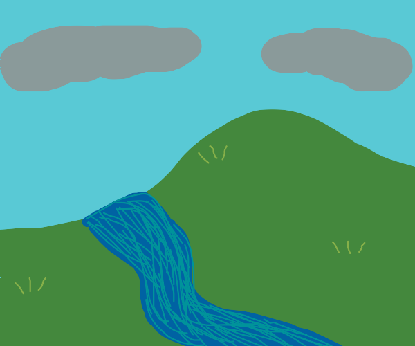 River flowing near a hill