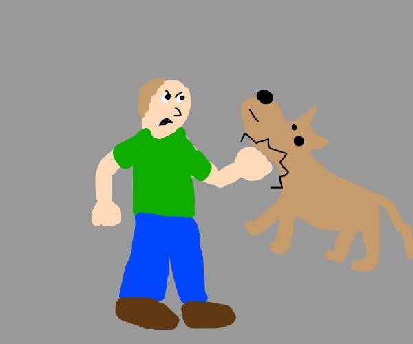 Guy punch dog's throat