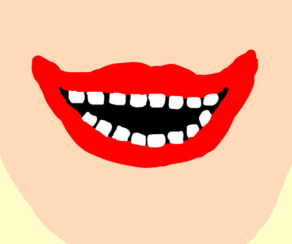 Detailed Drawing Of A Laughing Mouth