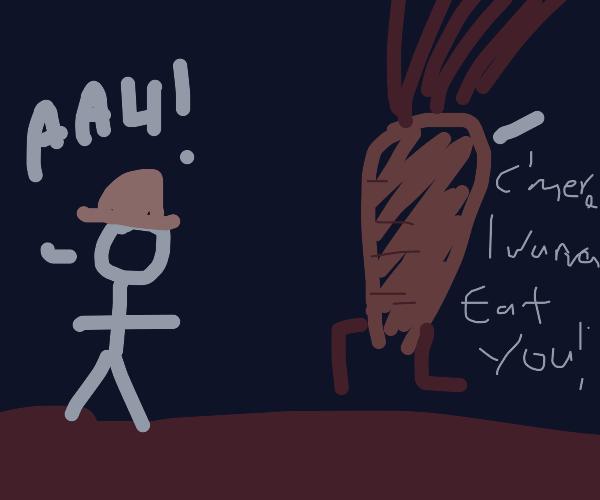 Farmer running from giant carrot