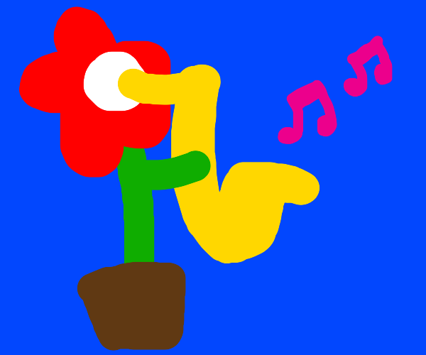 flower playing the saxophone