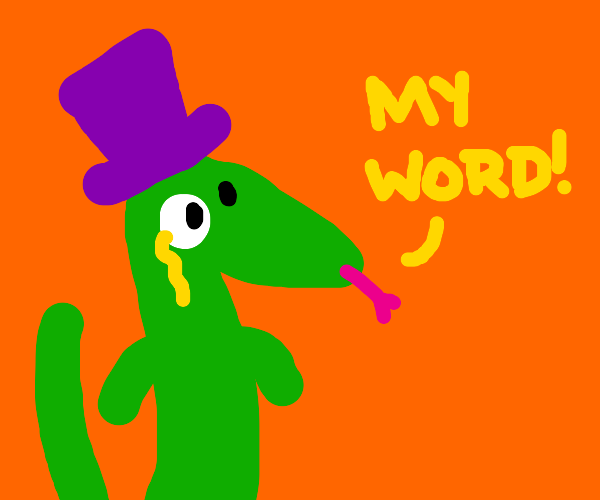 Lizard with funky purple hat is very impresse