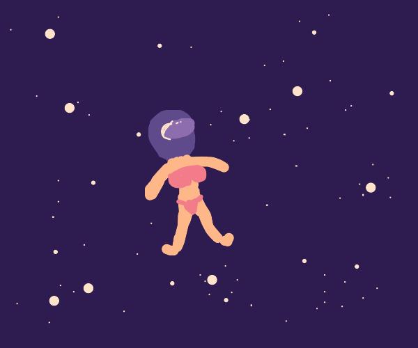 lady in bikini in space