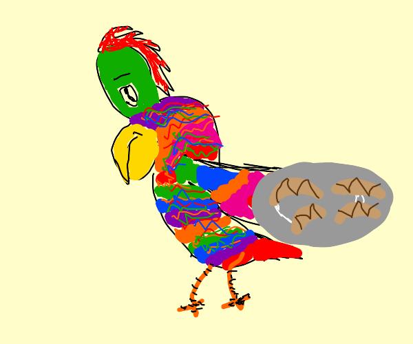 rainbow bird holds up croissants