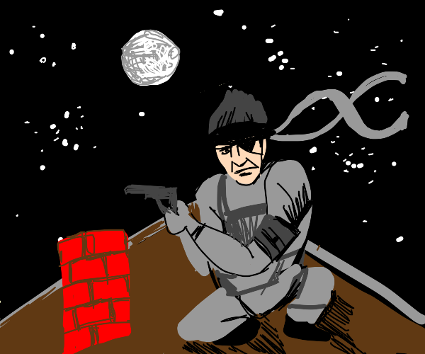 Solid Snake on a rooftop