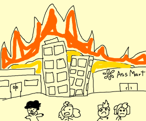 Town on fire