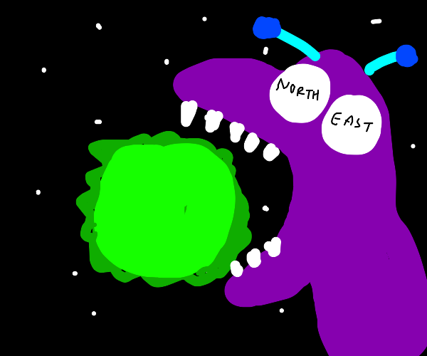 monster with ne eyes eats a green sun