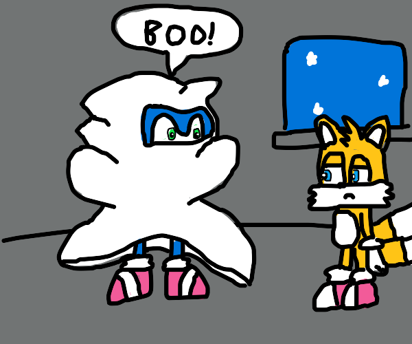 Sonic under a bedsheet says BOO!