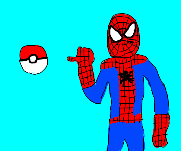 Spiderman next to a pokeball