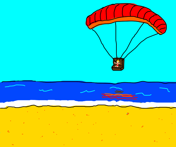 a small woman paragliding about to land
