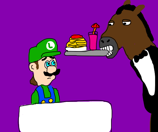 Luigi is getting served by a horse