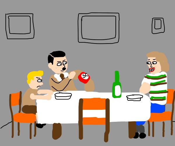 hitler showing his swastika at dinner