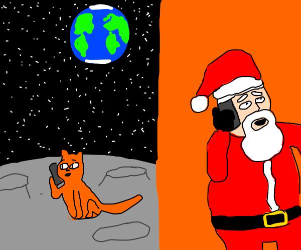 Moon cat calls Santa