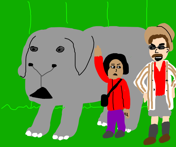 father+ disgusted child+ pet guinea elephant