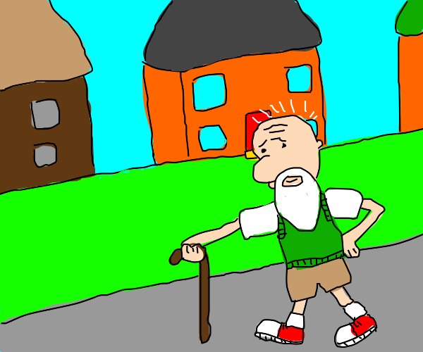 old doug with cane walking down the sidewalk